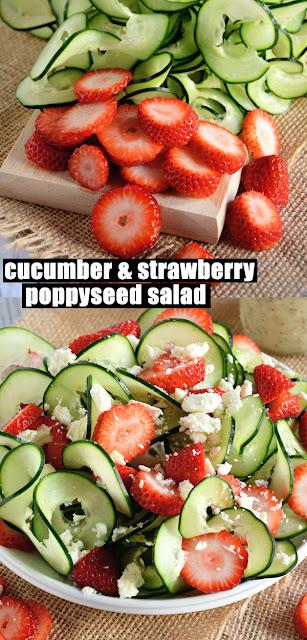 Easy Healthy Cucumber & Strawberry Poppyseed Salad
