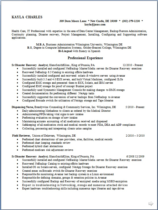 disaster recovery analyst resume format in word free download