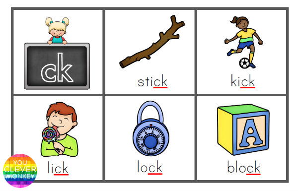 Printable Digraph Sound Bingo Game - ck words. A classroom set of ready to print BINGO cards focusing on words with the digraph /ck/ | you clever monkey