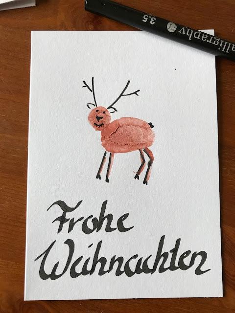 Weihnachtskarten selber basteln - Karte mit Rentier