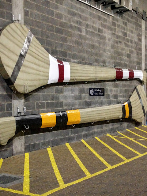 Giant Galway and Kilkenny hurley sticks in the tunnel of Croke Park in Dublin