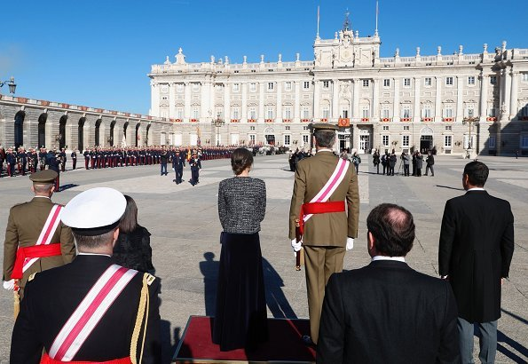 King Felipe and Queen Letizia attended Pascua Militar 2019 celebrations held at Madrid Royal Palace. wear a long dress