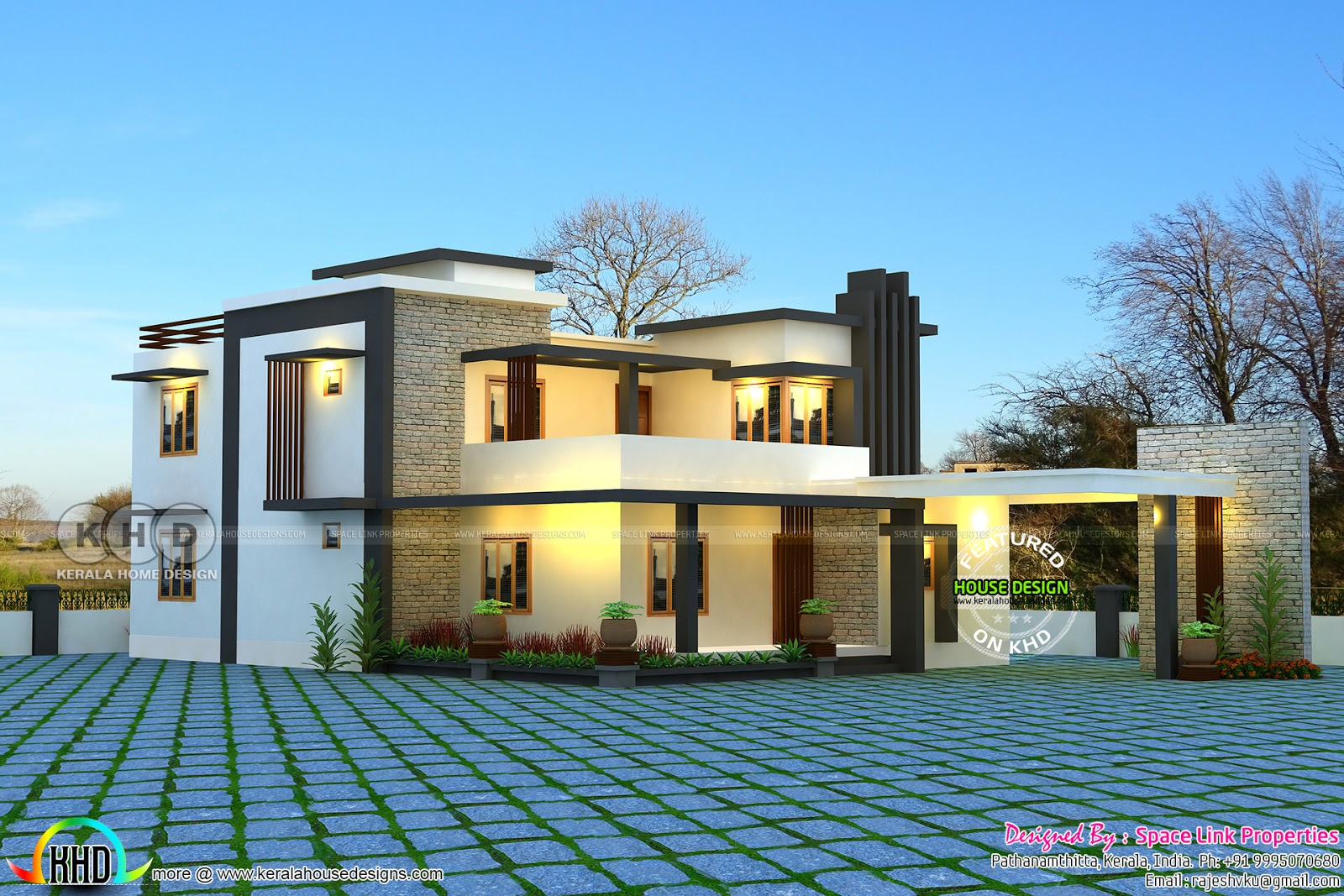 Flat roof 4 bedroom modern home - Kerala home design and ...