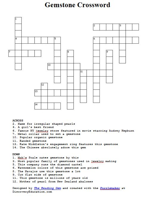 Gemstone Crossword Puzzle For Jewelry Lovers