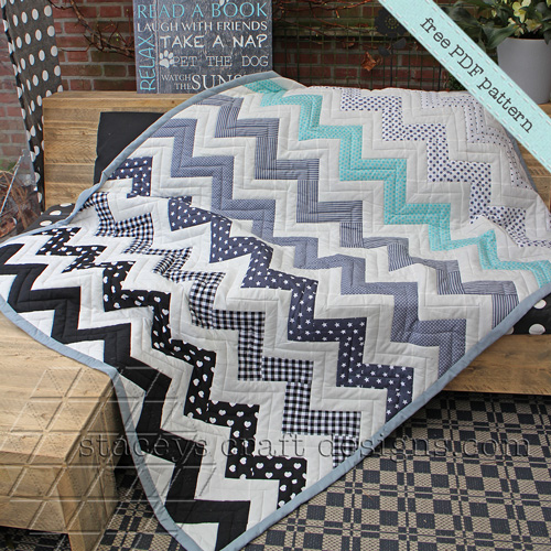 Chevron Quilt Free Pattern designed by Stacey of Staceys Craft Designs