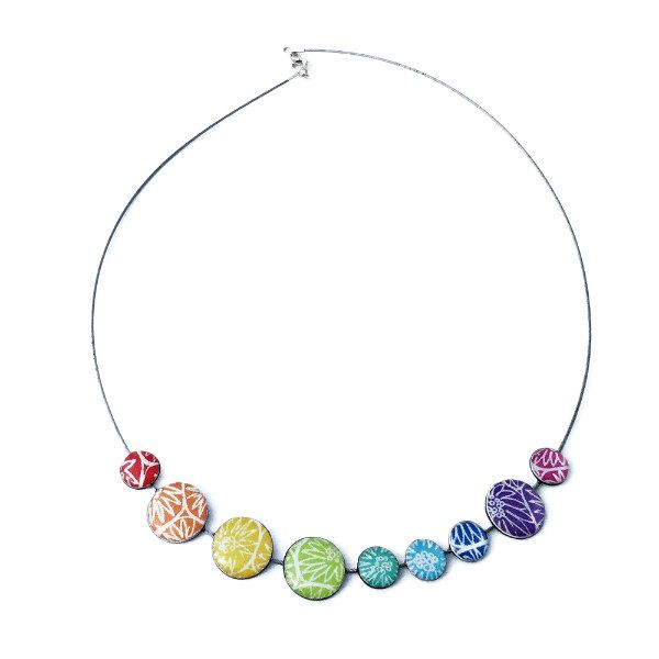 Rainbow necklace composed of colorful resin-coated paper beads on circular wire