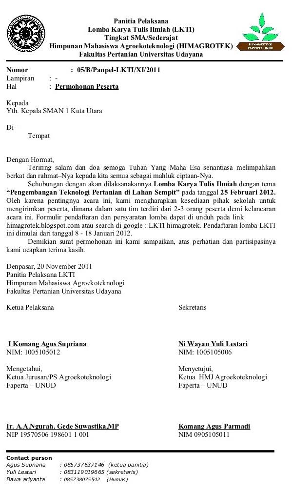 contoh surat permohonan pelaksanaan lkti lomba karya