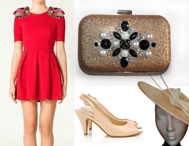 como combinar un vestido rojo con un bolso de fiesta en color oro