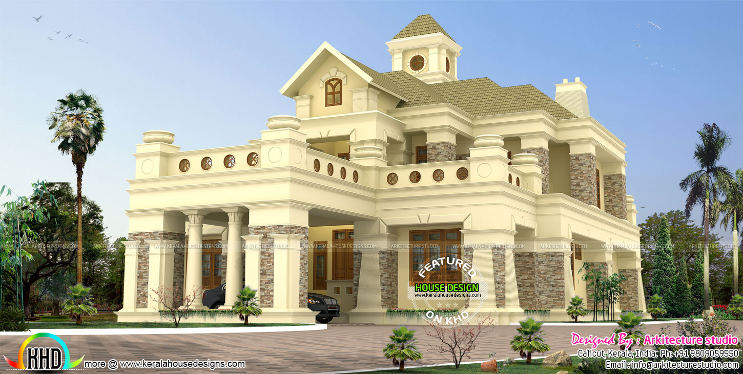506 sq yd luxury colonial house kerala home design and for Colonial luxury house plans