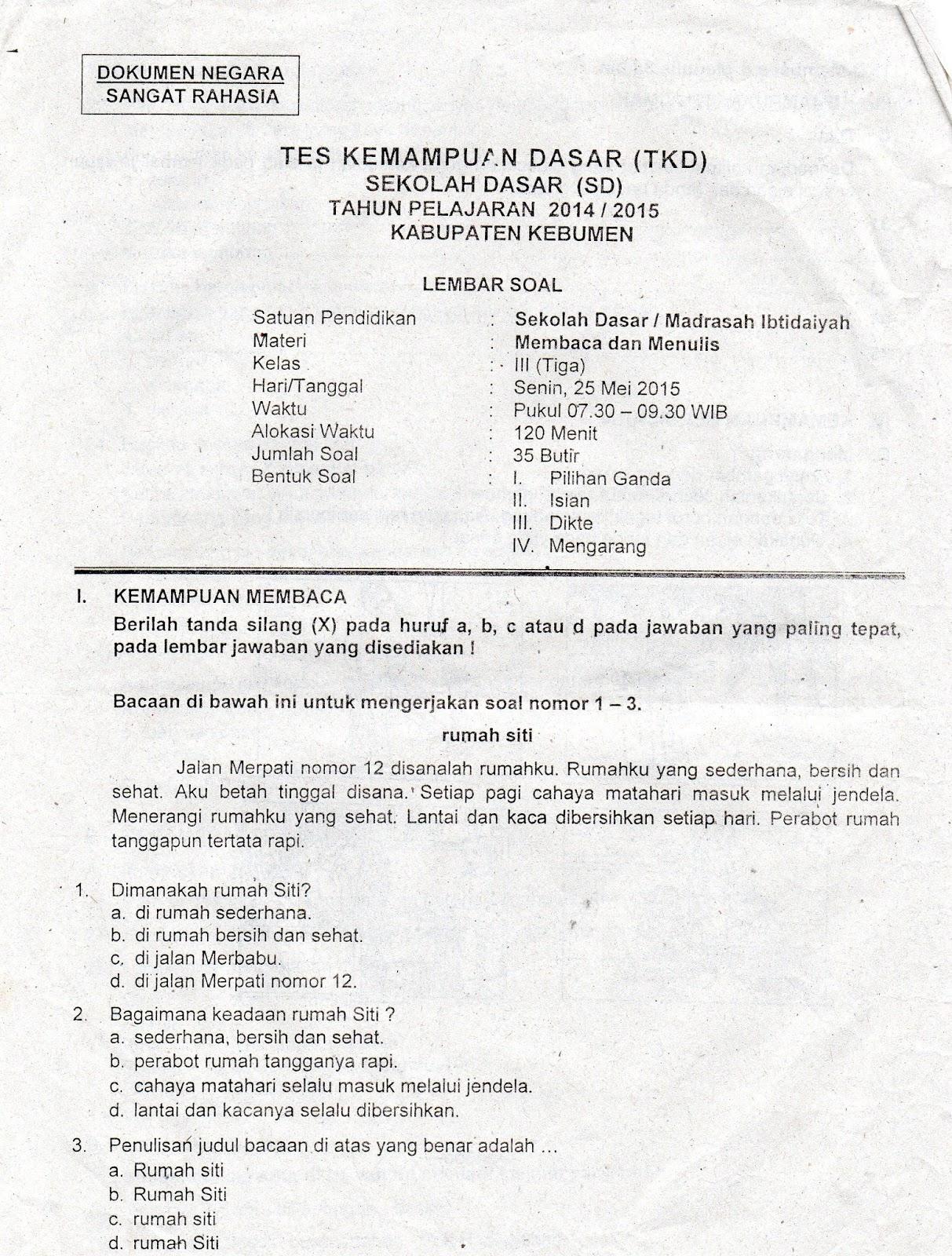 Soal Soal Tes Kemampuan Dasar TKD Kelas 3 Tahun 2014 2015