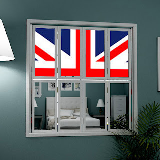 Tier on tier mirror window shutters with Union Jack picture