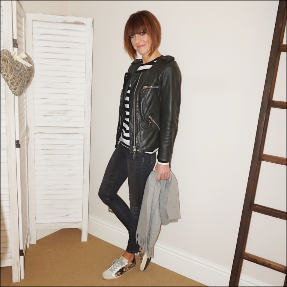 my midlife fashion, isabel marant etoile quilted biker jacket, raey long sleeve stripe crew neck t-shirt, golden goose superstar low top leopard print calf hair leather trainers, j crew 9 inch toothpick skinny jeans in grey