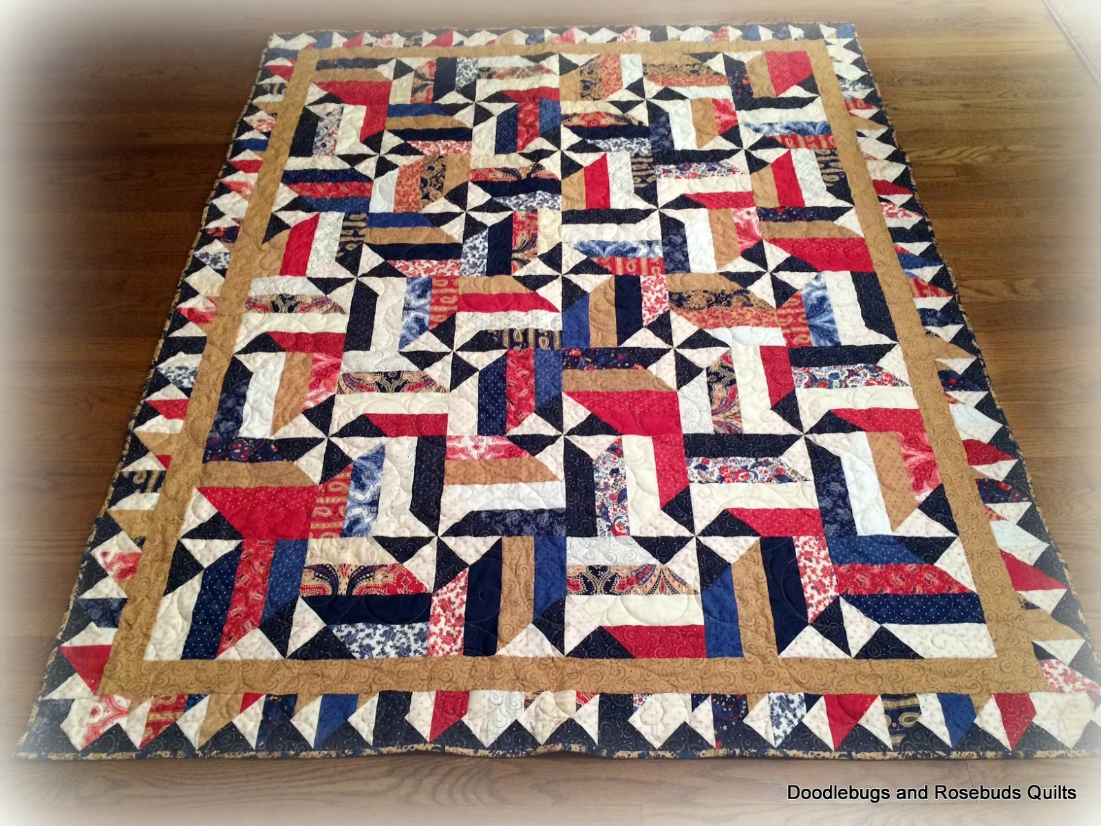 Doodlebugs and Rosebuds Quilts: Red, White and Blue Finish : red and blue quilt - Adamdwight.com