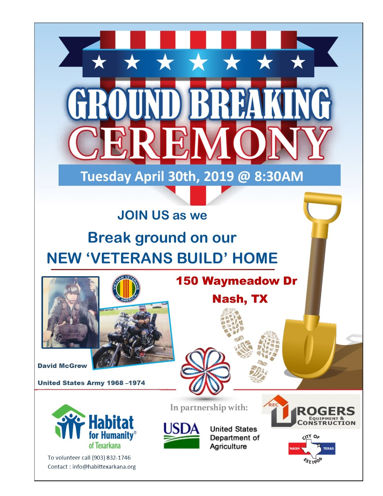 City of Nash celebrates groundbreaking of new home for local combat Vietnam veteran through partnership with USDA and Habitat for Humanity