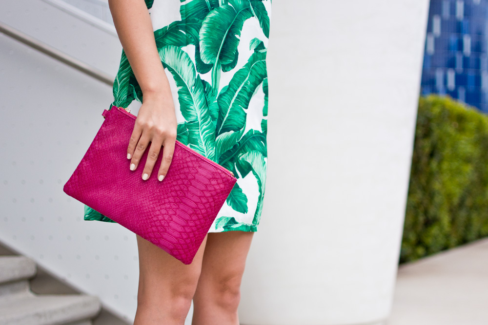 Shein Palm print mini dress hot pink clutch