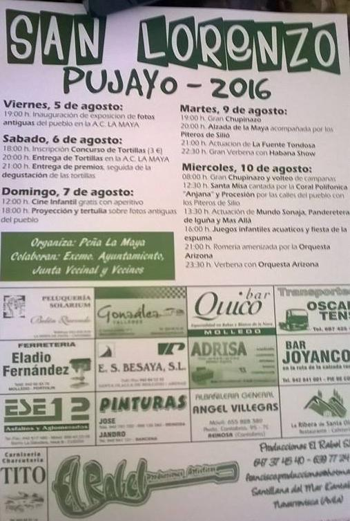 Fiestas de san lorenzo 2016 en Pujayo
