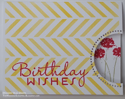 Single layer chevron background birthday card using MFT blueprints 21, PTI birthday and SU Happy Harmony