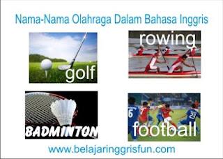 nama-nama olahraga dalam bahasa Inggris