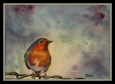 European Bluebird pastel painting ncwren