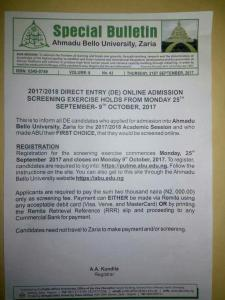 ABU Zaria 2017/2018 Direct Entry Admission Screening Form Out