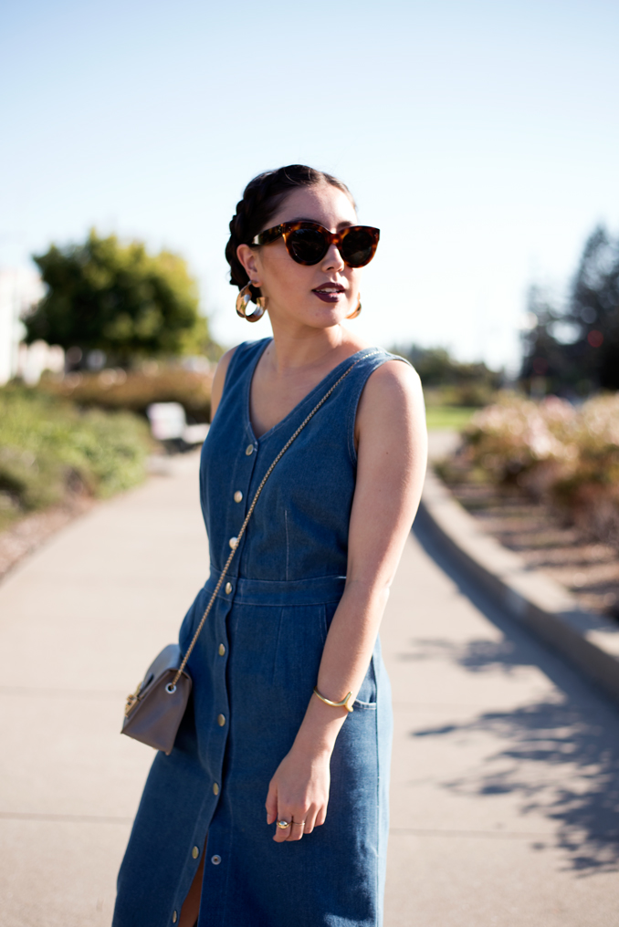 Azalea denim midi dress