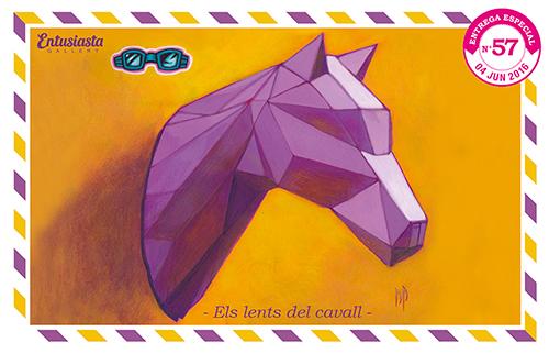 Cabeza de caballo y sus lentes facetado pintado en acrílico.