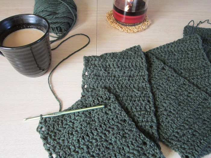 coffee, crochet, scarf, pattern