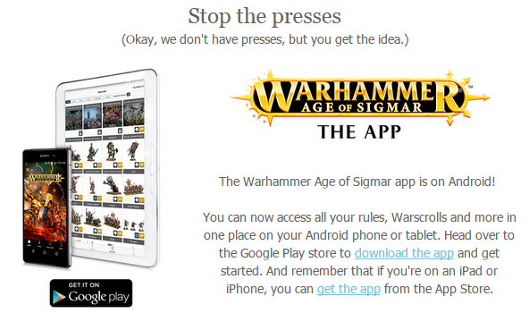 Age of Sigmar App Now on Andriod