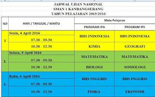 Jadwal Ujian Nasional Tahun Pelajaran 2015/2016