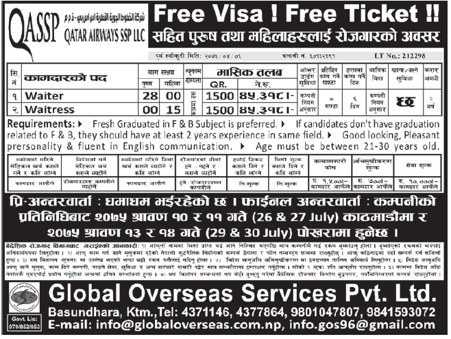 Free Visa Free Ticket Jobs in Qatar for Nepali, Salary Rs 45,318