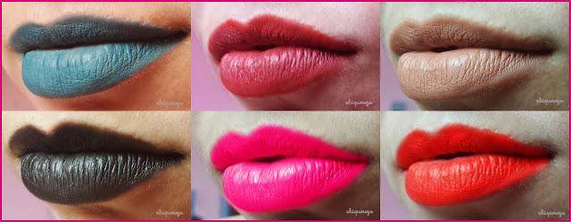 batom líquido matte caseiro, chiquereza, azul, preto, snape, nude chique, vermelho, pink