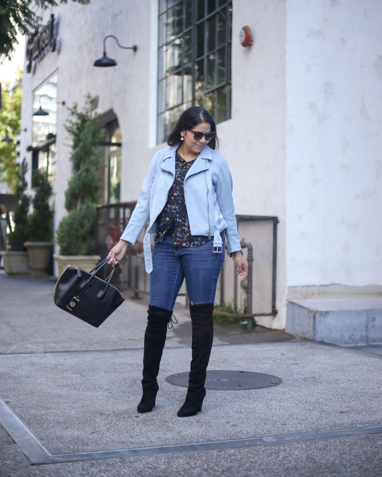 how to wear a suede moto jacket, san diego fashion blogger winter look