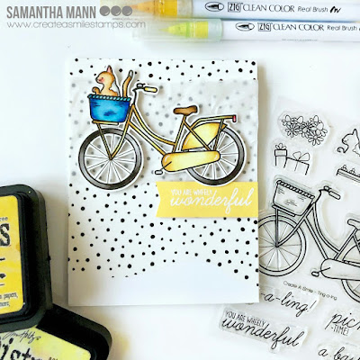 You are Wheely Wonderful Card by Samantha Mann for Create a Smile Stamps, Zig Clean Color Real Brush Markers, Cards, Washi tape, Encouragement, #createasmile #stamps #cards #wheels