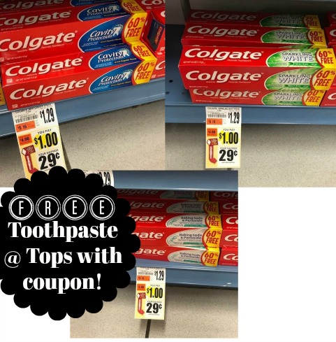 free toothpaste at Tops