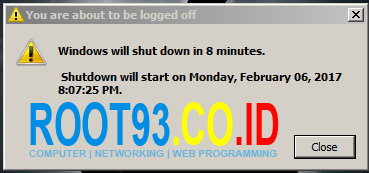peringatan shutdown