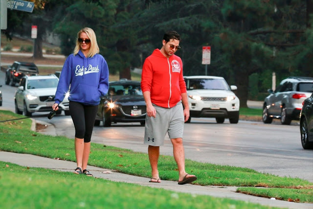 Photos of Anna Camp And Skylar Astin Walks Their Dog In Los Feliz