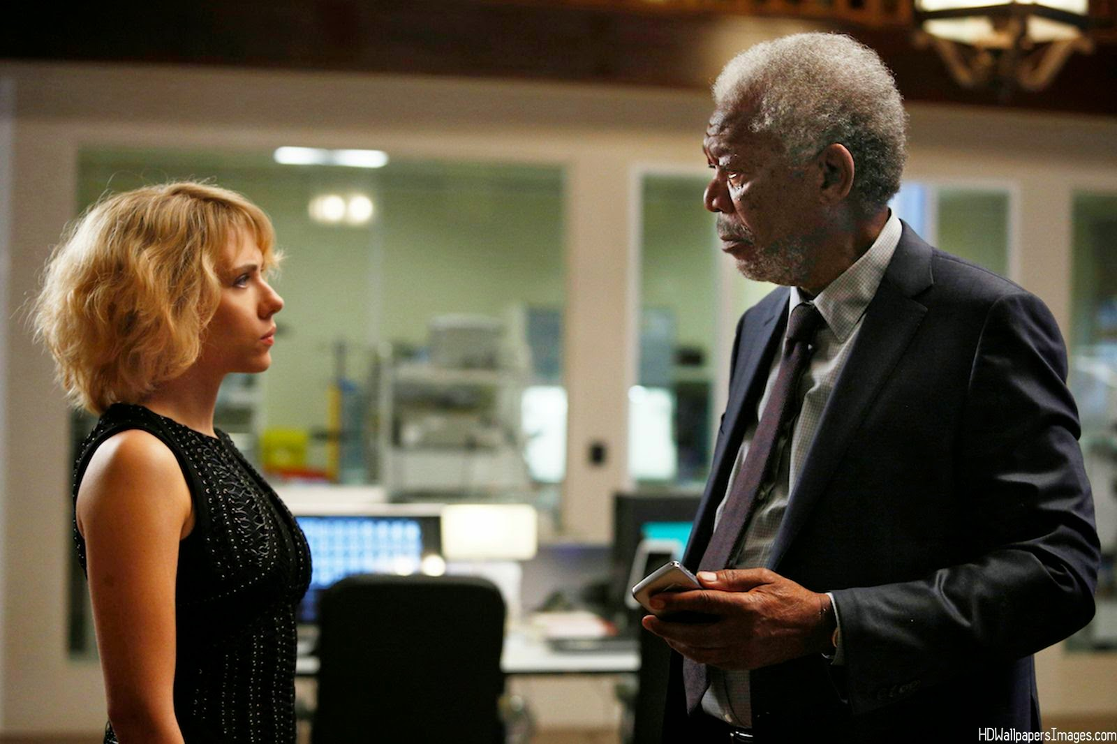 Scarlet Johansson and Morgan Freeman in Lucy, Directed by Luc Besson