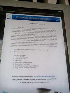 lowongan kerja PT. Sankei Dharma Indonesia
