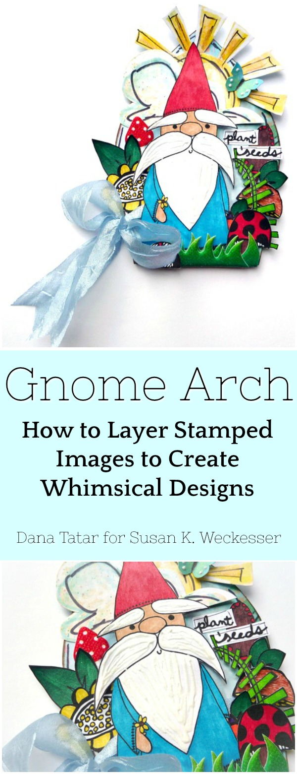 Whimsical Gnome Arch with Layered Stamped Images