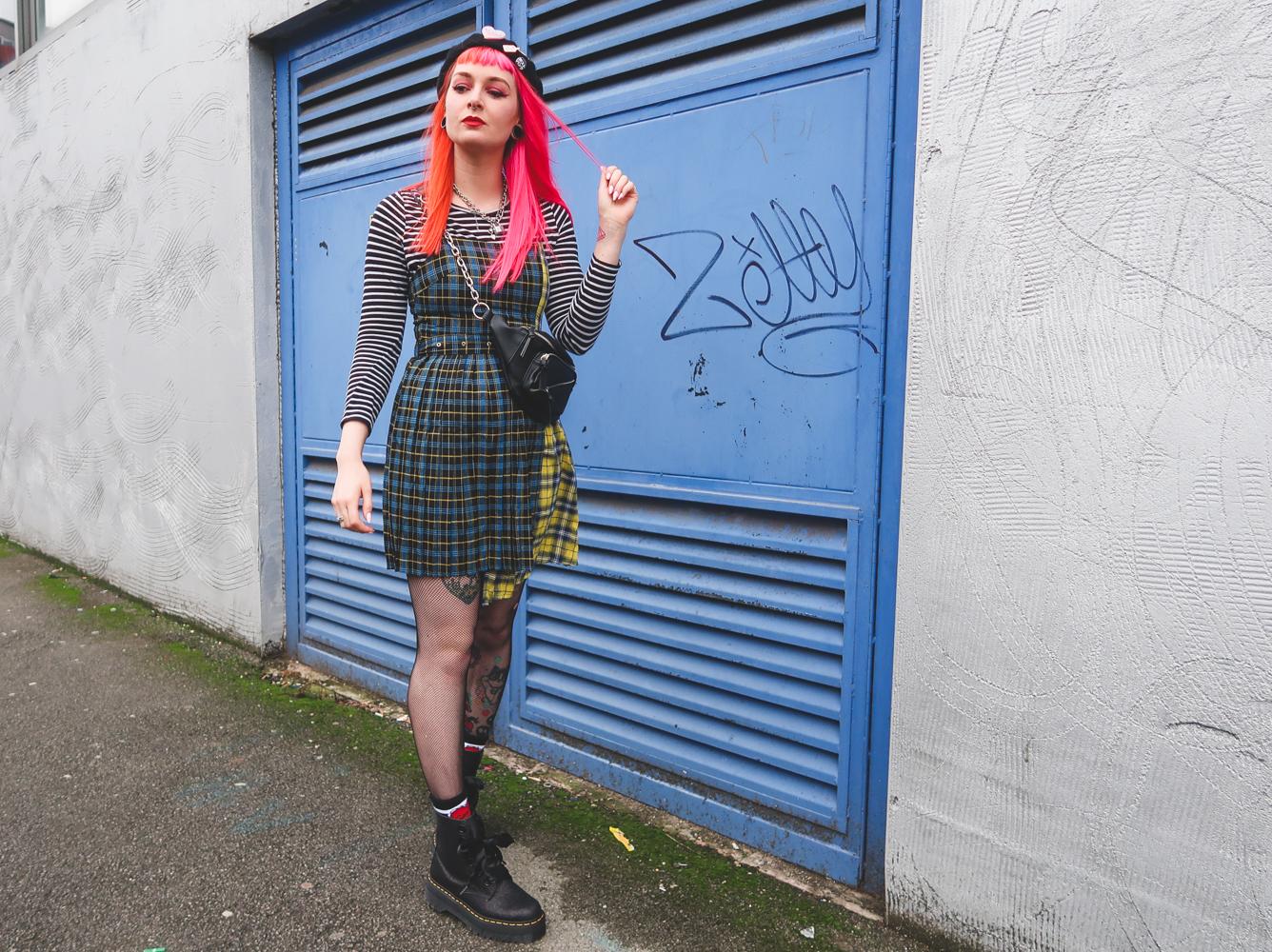 Alternative Fashion Blogger Foxxtailz Styles BooHoo Spliced Tartan Dress
