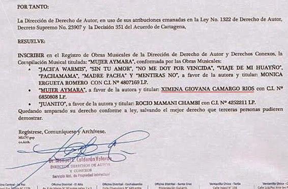 Documento de SENAPI que certifica la autoria de Ximena Camargo