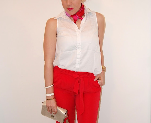 Red harem pants, white blouse, red Zara pumps and a FREYWILLE scarf.