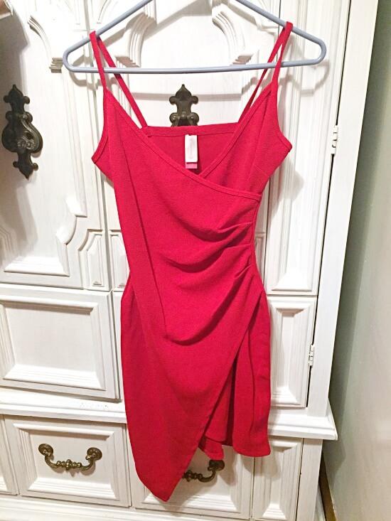 Walmart No Boundaries red wrap dress