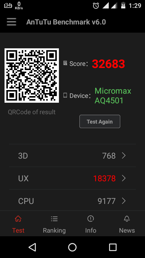 AnTuTu benchmark Test of Micromax A1 (6.0.1) (Android One) after Marshmallow update