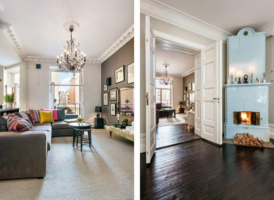 Apartament w Szwecji z kontrastową ścianą, wystrój wnętrz, wnętrza, urządzanie domu, dekoracje wnętrz, aranżacja wnętrz, inspiracje wnętrz,interior design , dom i wnętrze, aranżacja mieszkania, modne wnętrza, styl klasyczny, styl nowoczesny, ceglana ściana, ściana z cegły,