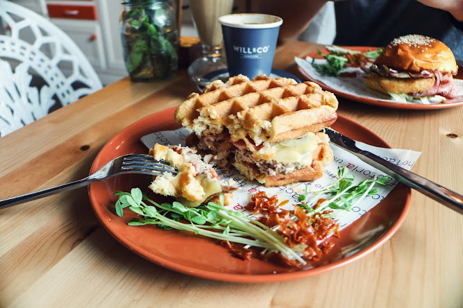 The Factoria Waffle Burger Bacon Maple Syrup Sydney