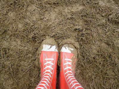 wellies in mud