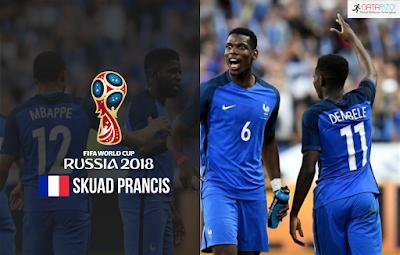 Skuad Susunan Pemain Prancis di Piala Dunia 2018