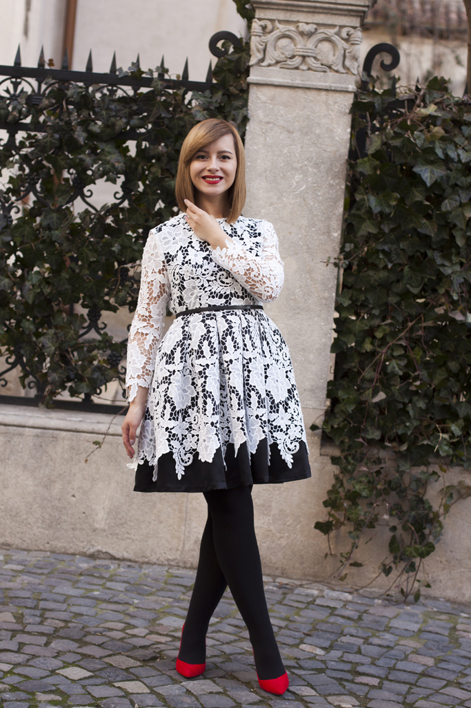 the black and white dress