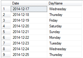 Get dates between two dates using sql table varaible